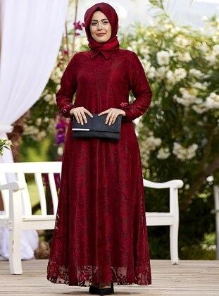 Nesrin Emniyetli Dantel Çiçek Aksesuarlı Elbise - Bordo