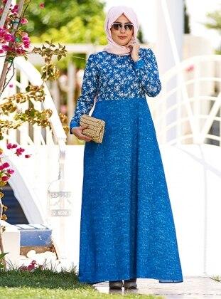 Keten Dokulu Çiçekli Elbise - Mavi