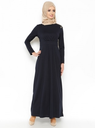Pileli Elbise - Lacivert