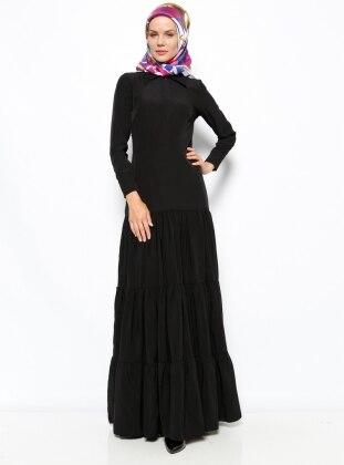 Gizli Düğme Detaylı Elbise - Siyah