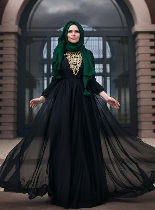 Şifon Abiye Elbise - Siyah