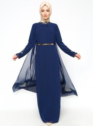 Embellished Evening Dress - Navy Blue - Sevdem Abiye 212478