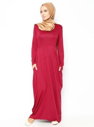 Basic Elbise - Bordo