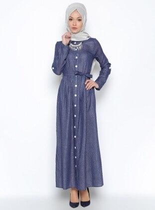 N.K. Collection Düğme Detaylı Elbise - Lacivert