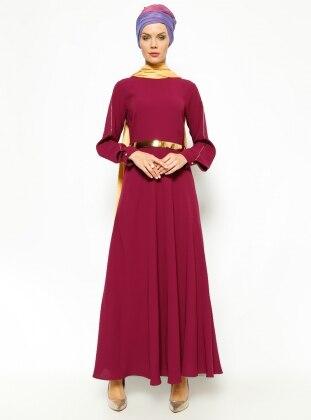 Kemerli Elbise - Koyu Fuşya