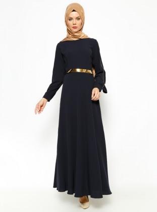 Kemerli Elbise - Lacivert