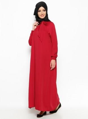 Yakası Büzgülü Elbise - Kırmızı