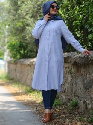 Coton Tunik - Mavi Çizgili