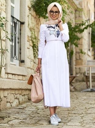 Tina Cotton Nakışlı Elbise - Beyaz