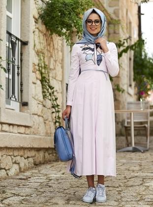 Tina Cotton Nakışlı Elbise - Açık Pembe