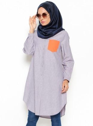 Striped Tunic - Blue - Orange - Allday 213510