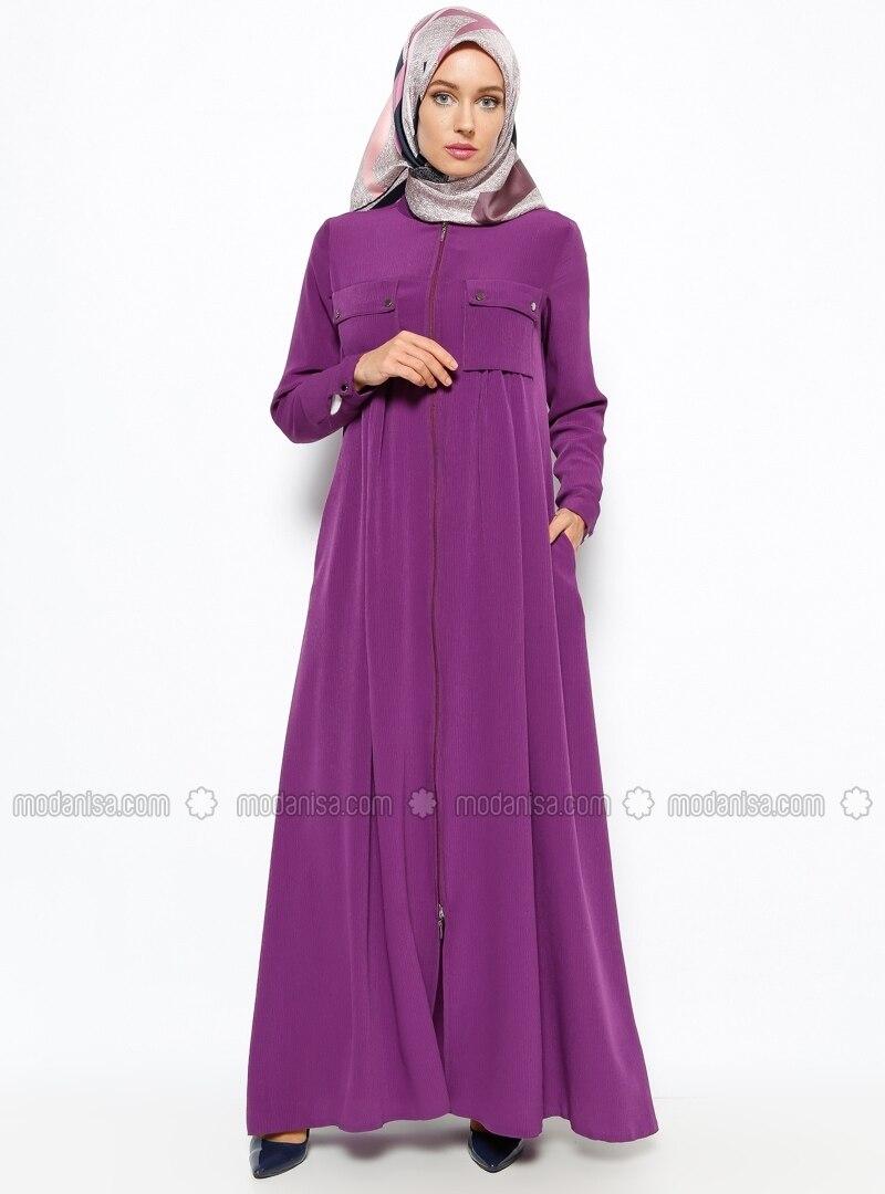 Pocket Detailed Abaya - Purple