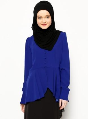 Arkası Uzun Ceket - Saks Modesty