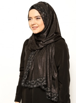 Silvery Lace Detailed Shawl - Black