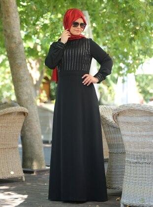 Deri Detaylı Elbise - Siyah