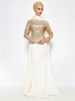 Pul İşlemeli Abiye Elbise - Krem/Gold Asbella