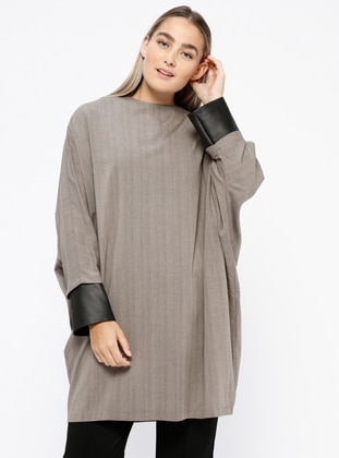 Smoke-coloured - Plaid - Crew neck - Tunic