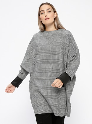 Black - White - Plaid - Crew neck - Tunic