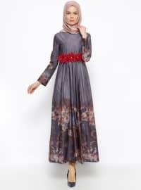 Lacivert - Çok renkli - Yuvarlak yakalı - Astarsız kumaş - Elbise