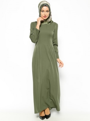 Düz Renk Elbise- Haki Beha