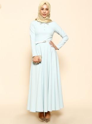 İnci Detaylı Elbise - Bebe Mavisi Puane