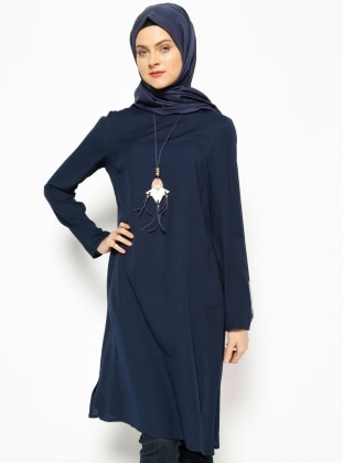 Necklace Tunic - Navy Blue - Esswaap 215584