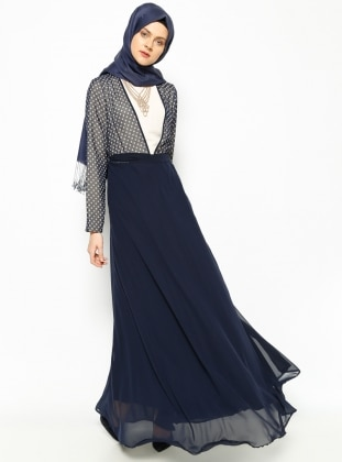 Polka Dot Dress - Navy Blue - Esswaap 215579