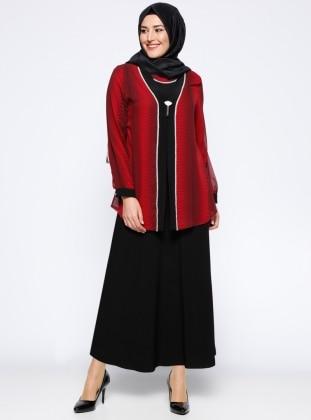 Ceket&Elbise İkili Takım - Bordo Metex