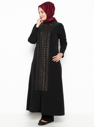 Metex Fermuarlı Ferace - Siyah