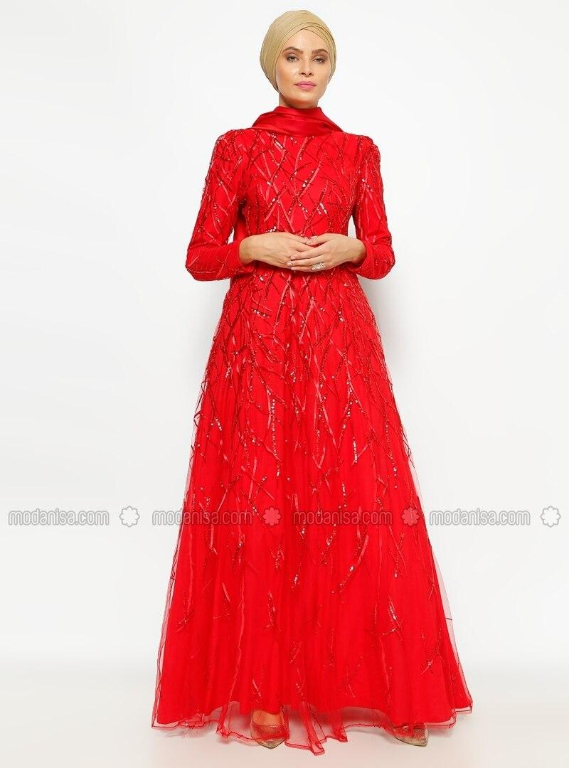 f40a481877042 Yağmur Abiye Elbise - Kırmızı