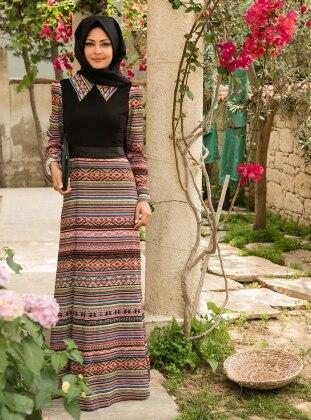 Etnik Desenli Elbise - Siyah