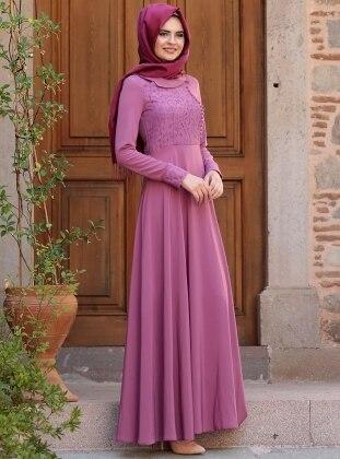 Liza Yakma Elbise - Mürdüm