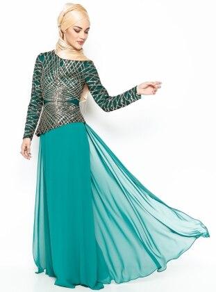 Payetli Asimetri Desen Abiye Elbise - Yeşil