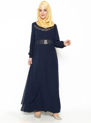 Guipure Detailed Evening Dress - Navy Blue - Mileny 216943