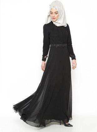 Güpür Detaylı Abiye Elbise - Siyah