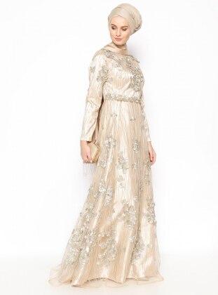 Güpürlü Abiye Elbise - Gold Mislina