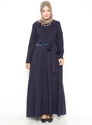 Belted Dress - Navy Blue - Mileny 216908