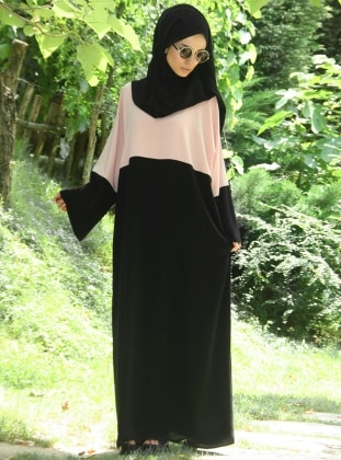 Medine Dress Abaya - Salmon - Black