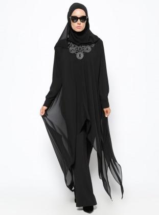 Yakası Taşlı Üçgen Kesim Modelli Tunik - Siyah