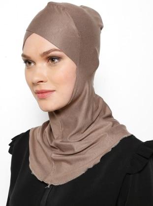 Büyük Hijab Çapraz Bone - Koyu Vizon - Ecardin Ürün Resmi