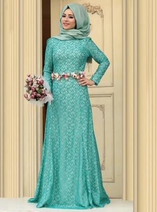 Hanin Abiye Elbise - Petrol