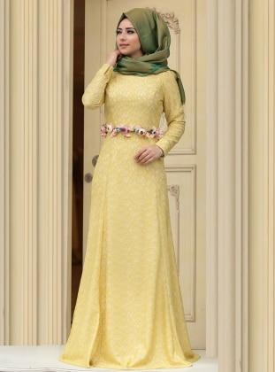 Hanin Abiye Elbise - Yağ Yeşili Zehrace