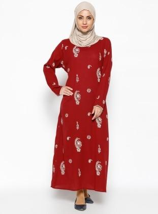 Printed Gauze Dress - Maroon - Cikrikci