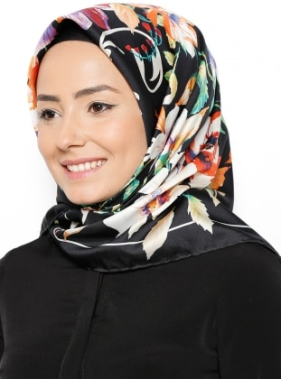 Floral - Multi - Black - Twill - Printed - Scarf