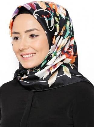 Floral - Multi - Black - Twill - Printed - Scarf