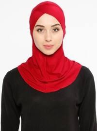 Büyük Hijab Çapraz Bone - Bordo - Ecardin