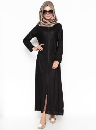 Zippered Abaya - Black - ModaNaz 217853