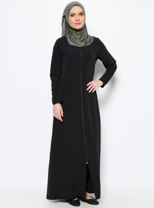 Zippered Abaya - Black - ModaNaz 217854