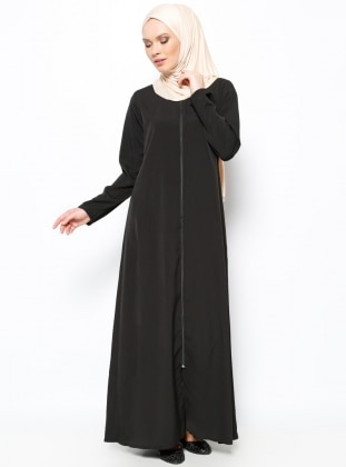 Zippered Abaya - Black - ModaNaz 217855