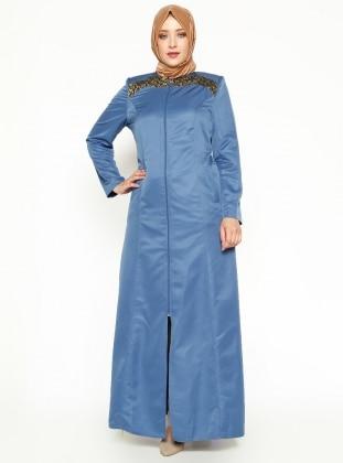 Fermuarlı Ferace - Mavi PARDESÜ DÜNYASI